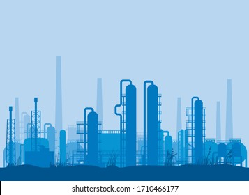 Vector illustration of a refinery silhouette against a blue background.