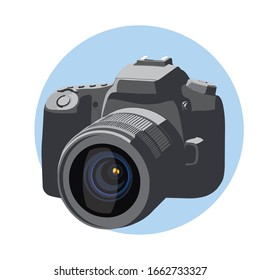 vector illustration of reflex camera with flat colors