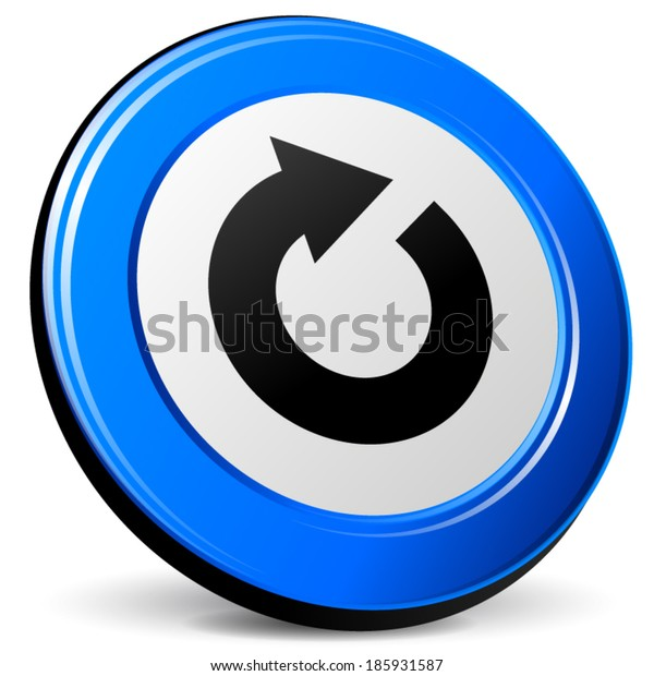 Vector illustration of refresh 3d blue icon on white background