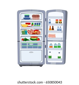 Vector illustration of Refrigerator with food isolated on white background