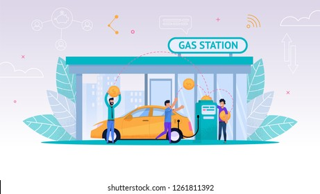 Vector Illustration Refueling Car on Gas Station. Man Fills his Car with Fuel for Long Journey. Payment Gasoline. Oil Business. Refilling Yellow Car to Full Tank with Gasoline. Group Happy Men
