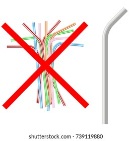 vector illustration of the refusal of disposable plastic drinking straws in favor of reusable metallic drinking straw