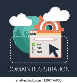 "Vector illustration of registration & domain name concept with ""domain registration"" web and website hosting icon."