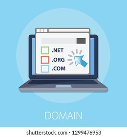 "Vector illustration of registration & domain name concept with ""domain"" web and website hosting icon."