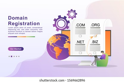 """Vector illustration of registration & domain name concept with """"domain"""" web and website hosting icon. Flat design for landing page, banner, web, template, marketing."""