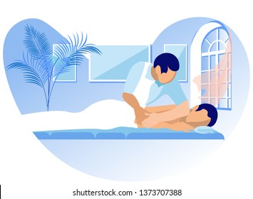 Vector Illustration Rehabilitation Massage Cartoon. Doctor makes Healing Massage to back Man. Stimulation and Relaxation for Effective Treatment Diseases Spine. Manual and Osteopathic Techniques.