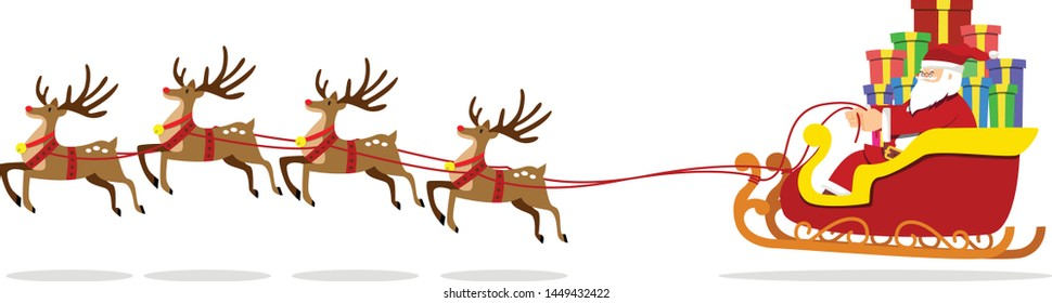 vector illustration of  reindeer are dragging. Santa on Sleigh to give gifts to children.
