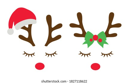 Vector illustration of reindeer faces with a Santa clause hat and a bow.