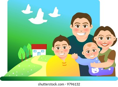 vector illustration for a relationship for a family with a sweet home background