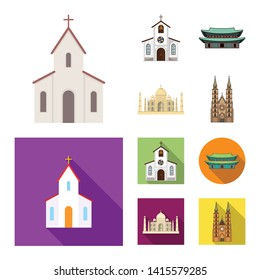 Vector illustration of religion and wedding symbol. Set of religion and house  stock vector illustration.