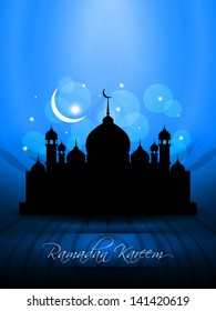 vector illustration of religious blue color background design for Eid with text ramadan kareem and mosque.