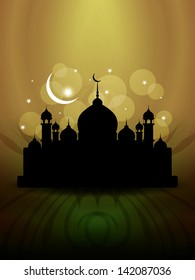 vector illustration of religious green color background design for Eid with mosque.