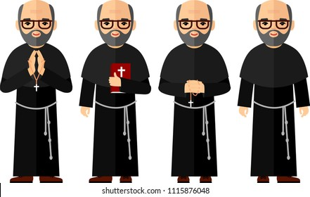 Vector illustration of a religious people, priest and nun. Set of different a religious people, priest and nun in colorful flat style.