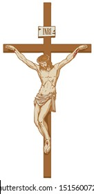 Vector illustration of the religious symbol crucifixion. Jesus Christ, the Son of God in a crown of thorns on his head, a Catholic symbol. Cross with crucifix and inscription INRI