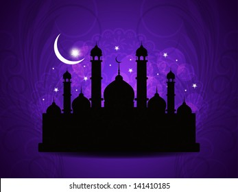 vector illustration of religious violet color background design for Eid with mosque.