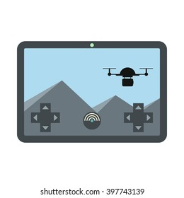 Vector Illustration with remote control drone (quadrocopter) isolated on white background in cartoon flat style. Element for illustration, infographics, logos and banners.