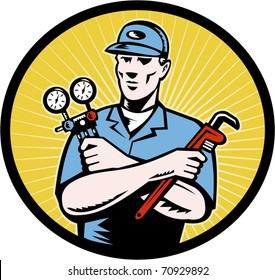 vector  illustration of a repairman or air conditioning  aircon a/c  serviceman holding an ac manifold gauge and pipe  wrench done in retro woodcut style set inside oval with sunburst