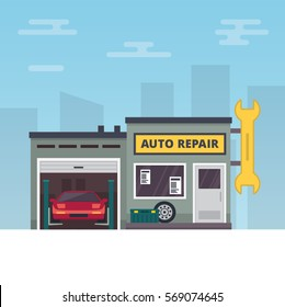 Vector Illustration representing Car service and repair building or garage.