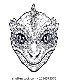 Vector illustration with a Reptilian Humanoid alien head. Used for sticker, poster, banner, web, t-shirt print, pin, bag print, badges. Conspiracy theory Reptiloid paranormal surreal face.