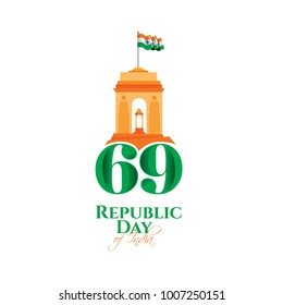 vector illustration .den the Republic of India on January 26 .India is celebrating its 69th Republic Day. graphic design for a holiday greeting card decoration, flyers, brochures, posters