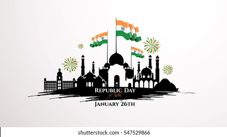 vector illustration .den the Republic of India on January 26 .67 years later, in 1950. graphic design for a holiday greeting card decoration, flyers, brochures,posters. panorama of the city with flag