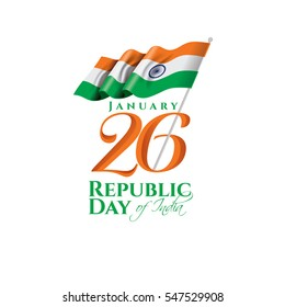 vector illustration .den the Republic of India on January 26 .67 years later, in 1950. graphic design for a holiday greeting card decoration, flyers, brochures, posters