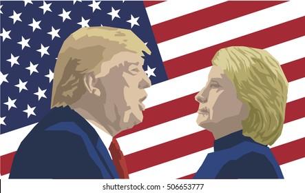 Vector Illustration of Republican Donald Trump versus Democrat Hillary Clinton face-off for American president