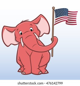 Vector illustration of a republican elephant holding american flag