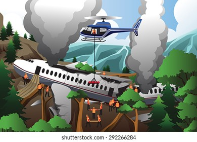 A vector illustration of rescue teams searching through destroyed airplane