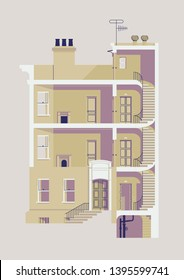 Vector illustration of residential building with interior exposed: stairwell, elevator, apartment rooms, windows, fireplaces, roof access, chimneys and basement. Facade entrance part on separate layer