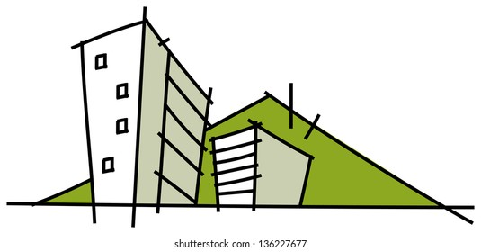 Vector illustration of residential buildings