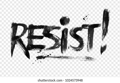 Vector illustration of Resist word lettering on transparency background.