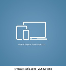 Vector illustration of responsive web design in laptop, tablet and smartphone