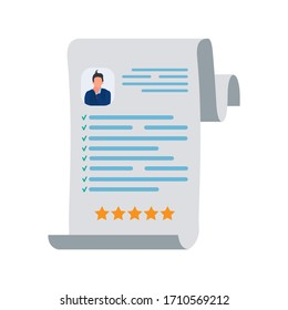 Vector illustration of a resume. Biography. Isolated on a white background.