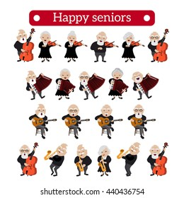 Vector illustration of retired people playing different musical instruments