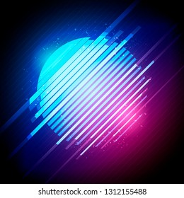 Vector Illustration retro 1980's glowing neon sun glitch distortion effect