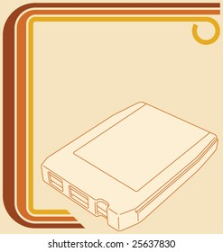 Vector illustration of a retro 70 border and an 8-track tape, with copy space.