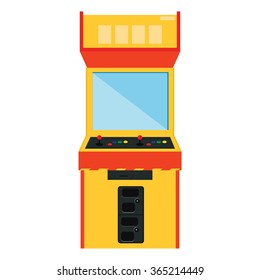 Vector illustration retro arcade game machine. Gaming machine flat icon