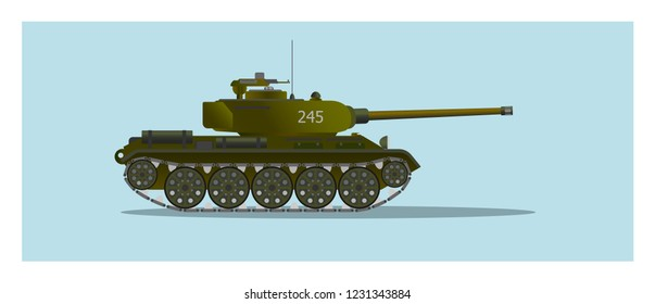 6e66398c80aab Vector illustration of retro battle tank isolated on blue background. Flat  style. Good for