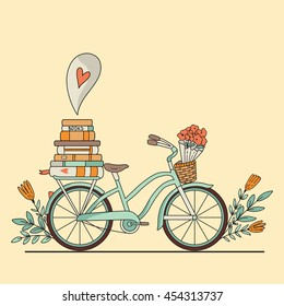 Vector illustration. Retro bicycle with books and space for your text