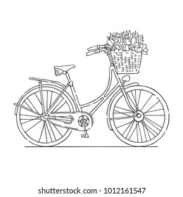 Vector illustration of a retro bicycle carrying a woven basket with tulips. Contour black and white drawing.