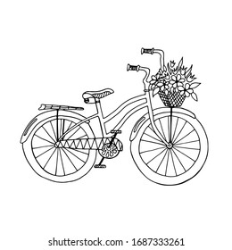 Vector illustration of a retro bicycle hand-drawn, black and white style.