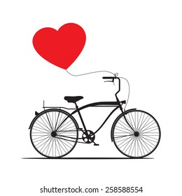 Vector illustration with retro bicycle and red heart balloon