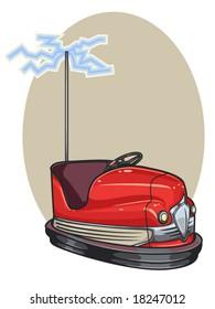 vector illustration of a retro bumper car