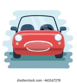 Vector illustration retro cabrio type red car in the front view