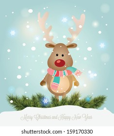 Vector illustration for retro christmas card. Snow landscape background with christmas deer.
