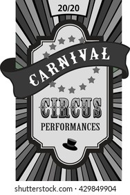 vector illustration retro circus poster with a bulk tape protruding beyond the edge of the radiant background in black and white