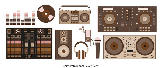 vector illustration with retro DJ accessories: DJ control, headphones, speaker, subwoofer, equalizer, vinyl record, microphone, player, record player