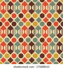 vector illustration of retro geometric  seamless shapes pattern with aged grunge effect