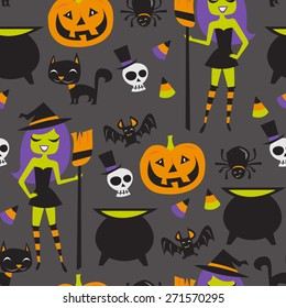 A vector illustration of retro halloween witch party theme seamless pattern background.